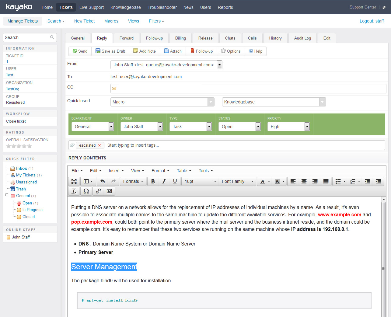 New ticket page with richtext editor