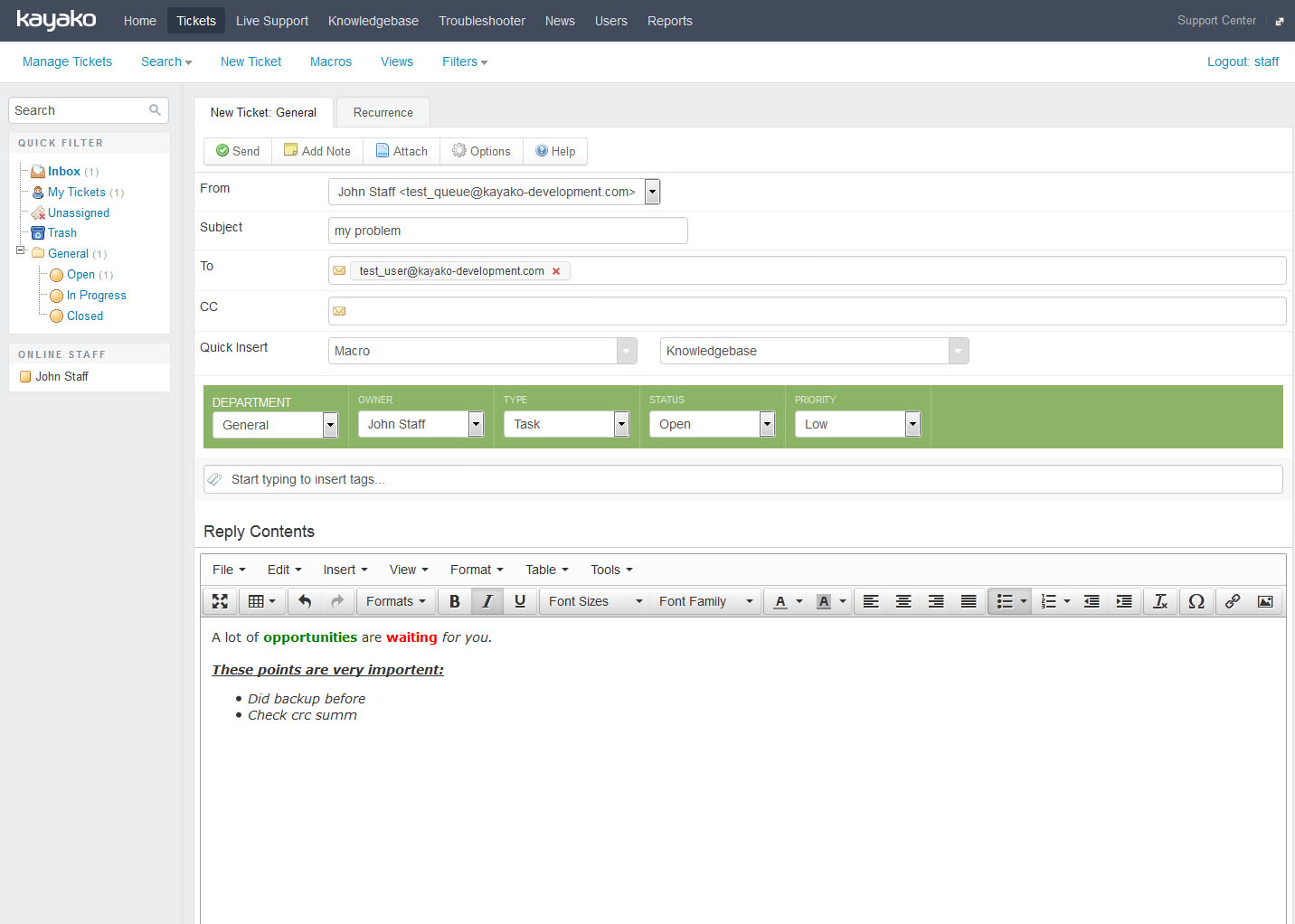 kayako new ticket page with rich text editor