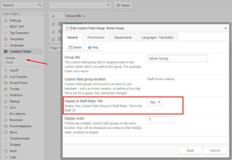 Configuration of Custom Field Groups to be displayed in the Ticket Reply tab
